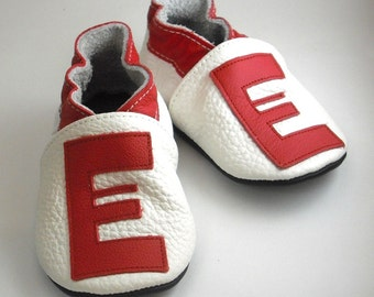 Soft sole baby shoes handmade infant gift red alphabet  white 0 6 ebooba LT-4-W-T-1