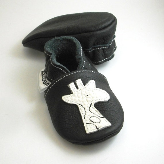 2f5bfd0f5 new soft sole baby shoes infant handmade white giraffe black 6 12 ...