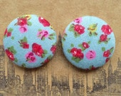 Fabric Button Earrings / Lightweight / Wholesale Jewelry / Made in NYC / Stud Earrings / Gifts for Her / Vintage Print / Blue and Pink