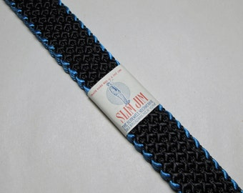 "Vintage Tie -- Deadstock 1920s Black with Blue Trim ""Slim Jim"" Necktie  -- New Old Stock NOS 45"" x 7/8"""