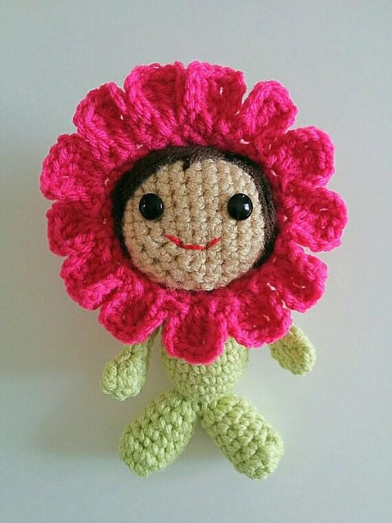 Amigurumi Flower Doll : Crochet Spring Summer Pink Flower Doll Girl Amigurumi Kawaii