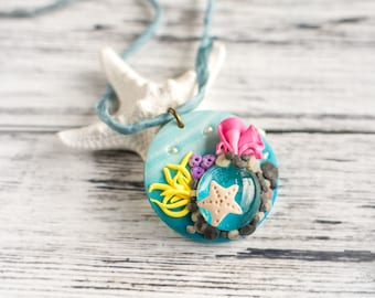 Hawaiian Coral Reef Necklace - Polymer Clay Pendant Faux Miniature Coral Reef Beach Wedding Necklace with Silk Cord and Beach Glass