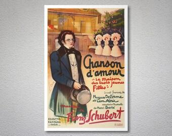 Chanson d'Amour, Musique de Franz Schubert Vintage Entertainment Poster, 1936- Poster Paper, Sticker or Canvas Print / Gift Idea
