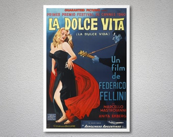 La Dolce Vita, Anita Ekberg, Marcello Mastroianni, Federico Fellini Movie Poster - Rita Hayworth - Poster Paper, Sticker or Canvas Print