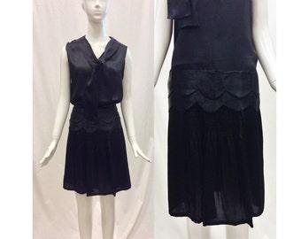 20% OFF SUMMER SALE / 1920's Black Dress/ Black Satin Dress/ 1920's Flapper Dress/ Gatsby Dress