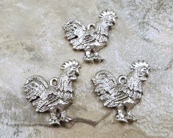 Set of Three (3) Pewter Rooster Charms - 0973