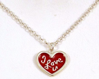 "Sterling Silver ""I Love U"" Heart Charm on a Sterling Silver 3mm Rolo Necklace - 2409"