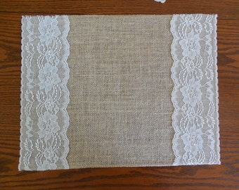 Burlap and lace place mats burlap table toppers rustic table decor wedding table topper