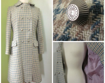 Vintage Wool Hounds Tooth Coat Plaid Princess Blue Tan Retro 50s 60s Double Breasted Womens Small