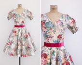 1950s Dress - Vintage 50s Floral Circle New Look Roecliff & Champan Dress - Floral Splendour Dress