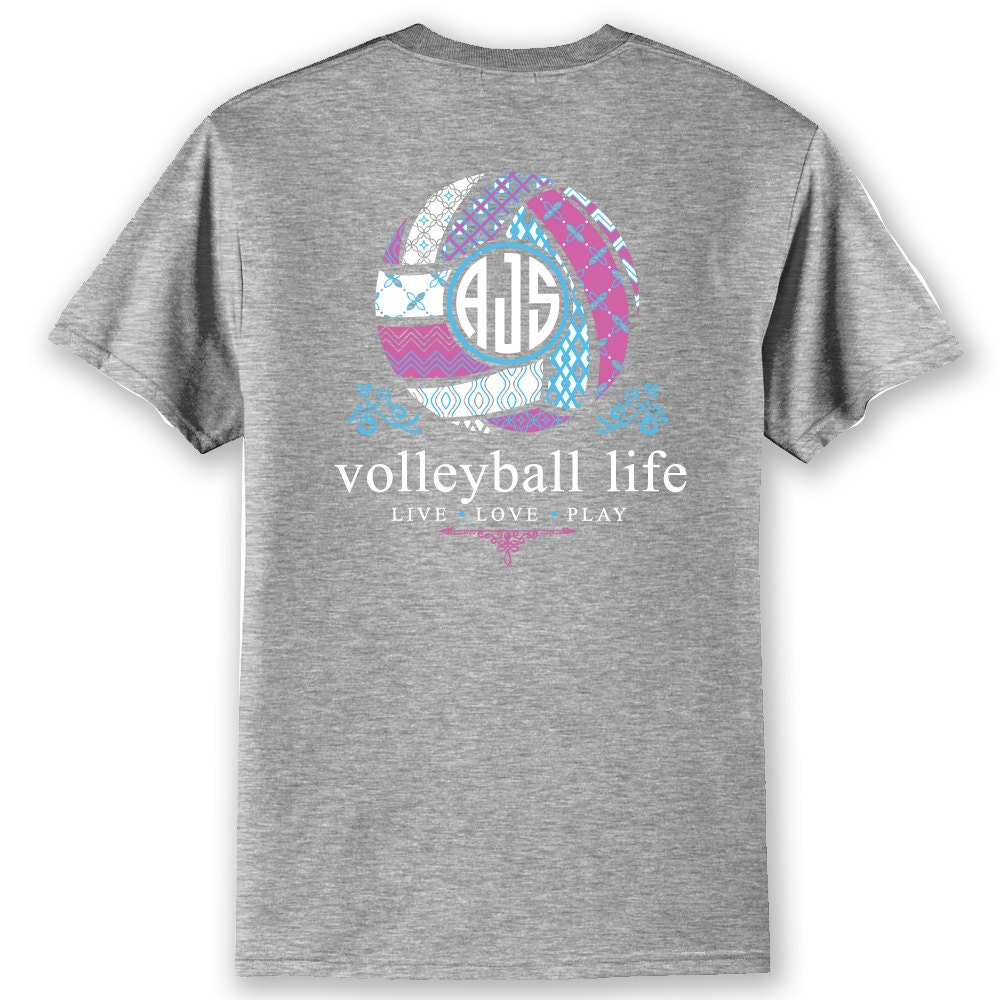 Official tm volleyball life custom monogram t shirt volleyball for Volleyball custom t shirts