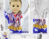 Gold Medals In Striped Ribbon