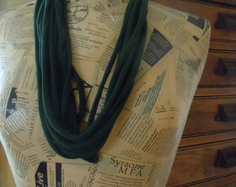 Dark Green T-Shirt Color Therapy Scarf, Green Shredded Jersey Scarf, Handmade Infinity Scarf or Necklace 0005