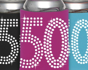 50th Birthday Can Cooler Party Favor -  50th Birthday, Birthday Party Favors, Can Cooler ,Birthday Idea, Party Favor, Beverage Holder,