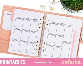 """A5 Printable Planner Weekly Inserts Pages 2 sheets Erin Condren Vertical Layout and Size 5.83"""" x 8.27"""" Filofax, Kikki K or similar planners"""