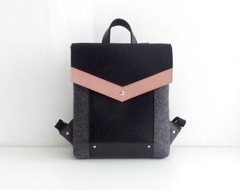 Felt Genuine Leather Backpack Gray Black Pink