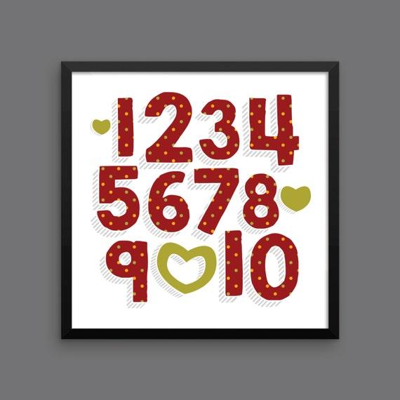 I LOVE YOU (Patterned - Cranberry Harvest) Framed Number Poster Print - Nursery, Kids Room, Wall Art Modern
