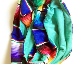 Cobalt Traditional Mexican Serape and Mint Green Knit Infinity Circle Scarf