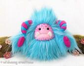 "Yeti artist bear, aqua blue and fuchsia faux fur monster plush, fantasy creature ""Calypso"""