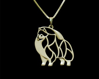 Pomeranian jewelry - Gold pendant and necklace.