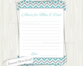 Advice for Mom and Dad boy baby shower parents-to-be parents chevron turquoise blue gray grey cards printable instant download game