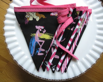 Pirate Pennant Banner, Bunting,Pink Panther Flag Banner, Banners 9 feet long, PINK PANTHER Birthday, Photo Shoot
