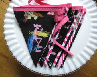 Pink Panther Pennant Banner, Bunting, Flag Banner, Banners 9 feet long, PINK PANTHER Birthday, Photo Shoot