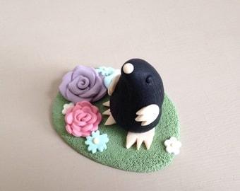 Handmade clay mole figure xx mole ornament