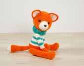 Fox in a sweater - 5-way jointed crocheted amigurumi fox