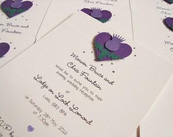 Personalised Handmade Scottish Thistle Wedding Invitation Sample