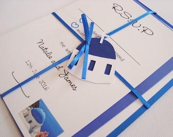 Personalised Handmade Santorini Greek Themed Ribbon Tied Wedding Invitation and RSVP Sample