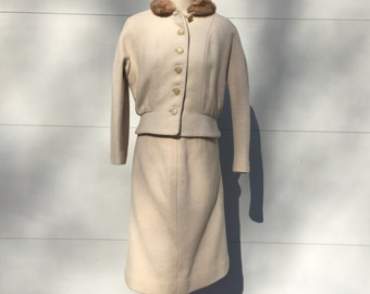 Vintage 1950s suit - wiggle skirt with mink collar - winter weight beige tan 50s suit