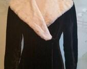 Long Black Velvet Vintage Opera Coat Fur Lapels Size Small