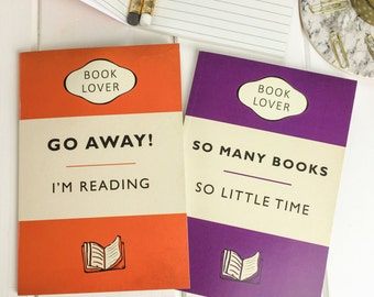 Book Lover A6 Notebook Set - Gift for readers, writers and book lover - Classic Book Cover - Pocket Notebooks - Notepad Jotters