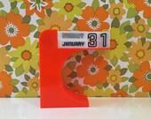 Retro Vintage Perpetual Calendar Orange Mid Century