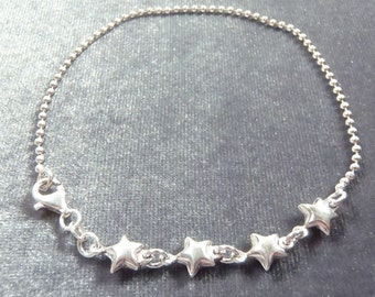Sterling Silver Star Anklet A4