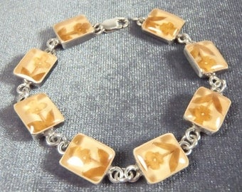 Sterling Silver Resin Dried Flower Bracelet B37