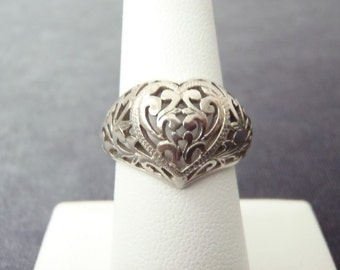 Sterling Silver Cutout Heart Ring Sz.7 1/2 R120