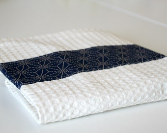 Kitchen towel blue and cream with japanese fabric for your kitchen