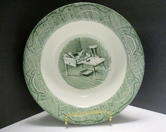 Royal USA China - The Old Curiosity Shop Pattern - Large 9 1/8 inch Vegetable Serving Bowl Transferware Green - 1950s