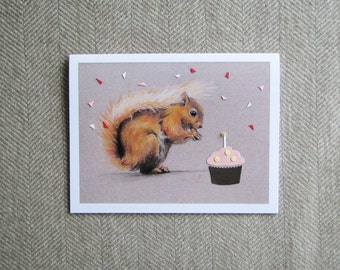 Red Squirrel birthday card/ cute birthday card/ blank greeting card/ naturalistic drawing/ birthday card for animal lover