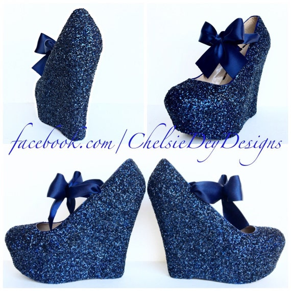 Navy Blue Wedge Glitter Heels Dark Blue by ChelsieDeyDesigns