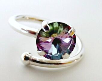 Sterling silver ring for women, swarovski ring, sterling silver ring, gift for her, bridesmaid gift, ring for women, sterling ring