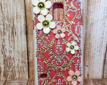 blinged pink and champagne phone case, sparkly phone case for Galaxy s5, custom samsung s5 phone case, crystal covered phone case