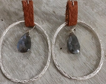 Silver hoop dangle earrings with leather and labradorite