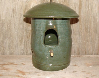 Handmade Forest Green Pottery Birdhouse