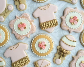 Pink, gold and white Decorated Baby Shower Cookies - 24 Decorated Sugar Cookies