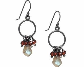Labradorite and Red Garnet Dangle Earrings, Sterling Silver Earrings, Oxidized earrings