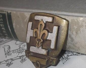 Antique French Badge, France Scouts Cross Badge, Fleur de Lis, SF Badge, Catholic, Collectible