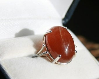 Aragonite Cabochon Boho Ring Sterling Silver Solitaire 14 CT Caramel Cabochon Natural Gemstone Size 6